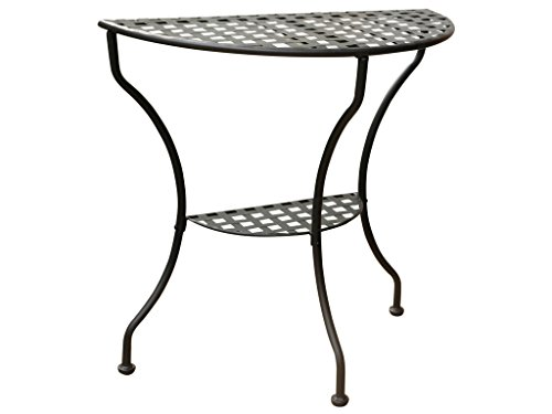 International Caravan Mandalay Half Moon 2-Tier Table in Antique Black (Console Patio Table)