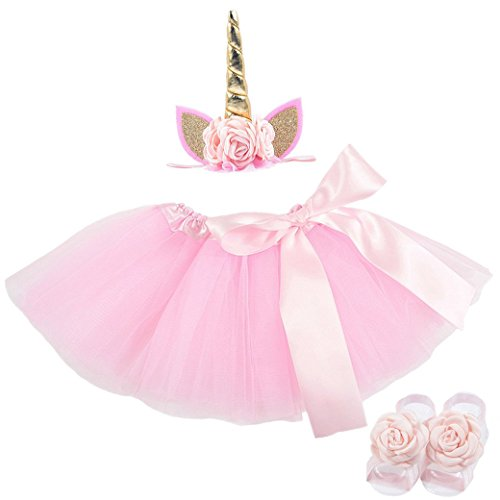 Lujuny Cute Unicorn Headband Tutu Dress Flower Foot Shoes Barefoot Sandal Set for Litter Girls, Small Dog Pink Gold -