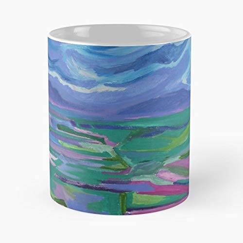 Colourful Colorful Bright Vibrant Unique Fun Creative Painting Arty Artistic Free Original Quirky Landscape Acrylic 11 Oz Coffee Mugs Best Gift For Father Day