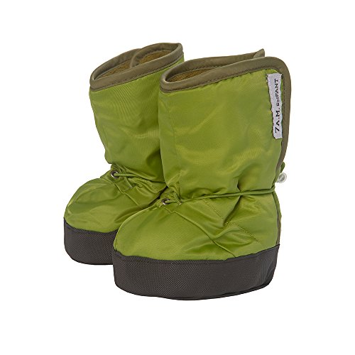 7AM Enfant 500 Soft -Soled Booties, Water Repellent Insulated and Quilted - Kiwi/Army, (Quilted Bootie)