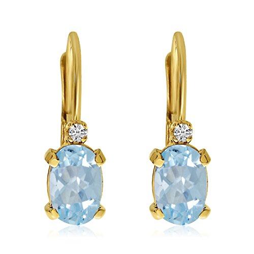 14k Yellow Gold Oval Aquamarine and Diamond Leverback Earrings