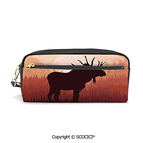 Girls Boys 3D Printed PU Pencil Case Holders Bag with Zipper Antlers in Wild Alaska Forest Rusty Abstract Landscape Design Deer Theme Woods Print Stationery Makeup Cosmetic Bags Back to School