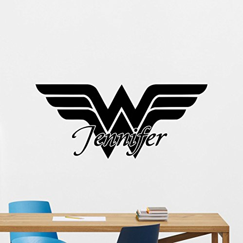Custom Name Wonder Woman Logo Wall Decal Marvel Comics Personalized Superhero Vinyl Sticker Wall Decor Cool Wall Art Kids Teen Girl Room Wall Design Modern Bedroom Wall Decor Mural 157zzz by CarolGreyDecals