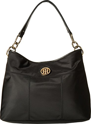 Tommy Hilfiger Women's The Signature Smooth Nylon Small Hobo Black One Size (Hobo Bags Hilfiger Tommy)
