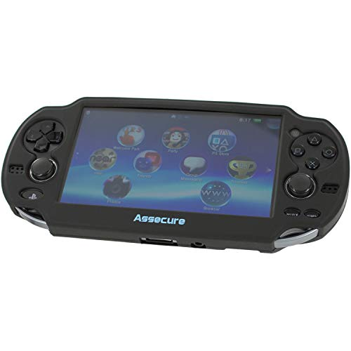 (Assecure Pro Black Silicone Gel Skin Protector Cover Protective Bumper Grip Case for Sony PS Vita (PSP PSV) )
