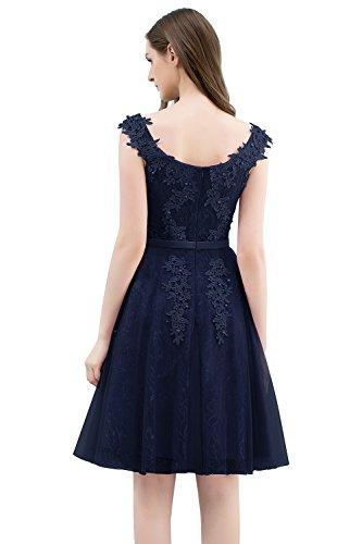 Navyblau für MisShow Perlenstickerei Linie Kurz Abiballkleider kurz mit Ausschnitt Hochzeit A Carmen Abendkleider elegant Brautjungfernkleider 16frqxE6