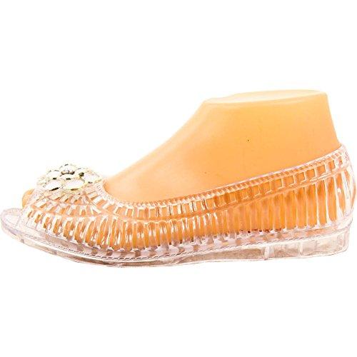J & J Bonita Mujer's Open Toe Jelly Ballet Flats Blanco