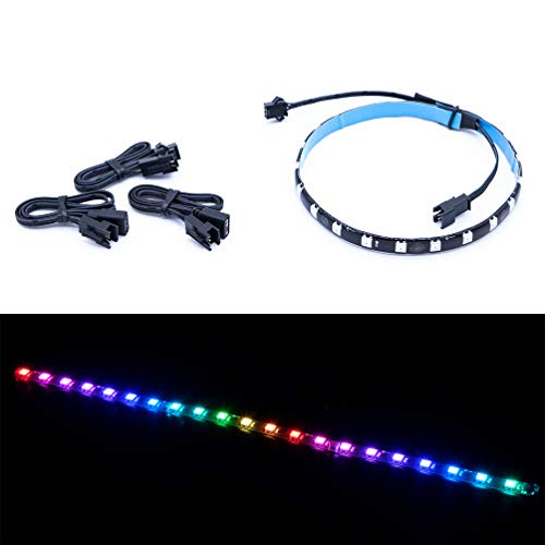 Computer Magnetic Addressable Digital RGB LED Strip, Compatible with ASUS Aura SYNC/MSI Mystic Light Sync/ASROCK Aura RGB/Gigabyte RGB Fusion via 5V 3-Pin LED Header on Motherboard