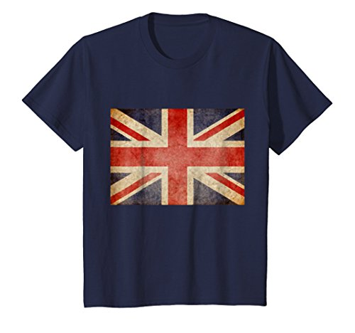 Retro Union - Kids Union Jack T-shirt Vintage UK Flag Tee British Retro Flag 10 Navy