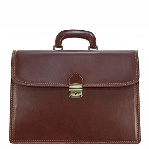 Carelli Italia Italian Design Leather Briefcase/Laptop bag, COPPARO cognac (Cognac Leather Briefcase)
