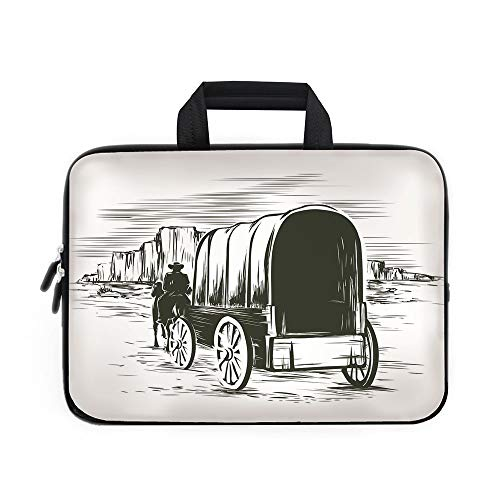 Western Laptop Carrying Bag Sleeve,Neoprene Sleeve Case/Old Traditional Wagon Wild West Prairies Pioneer on Horse Transportation Cart Decorative/for Apple Macbook Air Samsung Google Acer HP DELL Lenov (Cart Print Battery)
