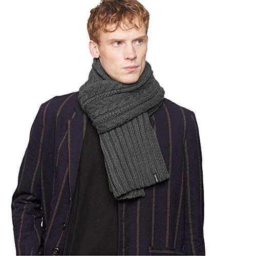 CACUSS Men's Winter Long Thick Cable Knitted Scarf Soft Warm Scarves for Cold Weather Black (Dark gray)