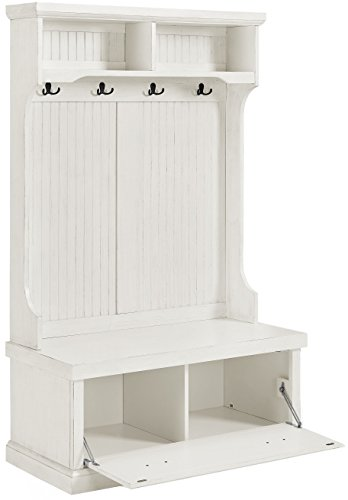 Crosley Furniture Seaside Hall Tree - Distressed White - Classic design featuring beadboard panels Solid hardwood and wood veneer construction Four double hooks for hanging accessories - hall-trees, entryway-furniture-decor, entryway-laundry-room - 41ZRL7ZQV9L -