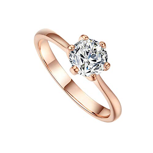 (XINHUXIN Round Brilliant Cut Simulated Diamond CZ Solitaire Engagement Wedding Ring Rhodium Plated Sterling Silver)