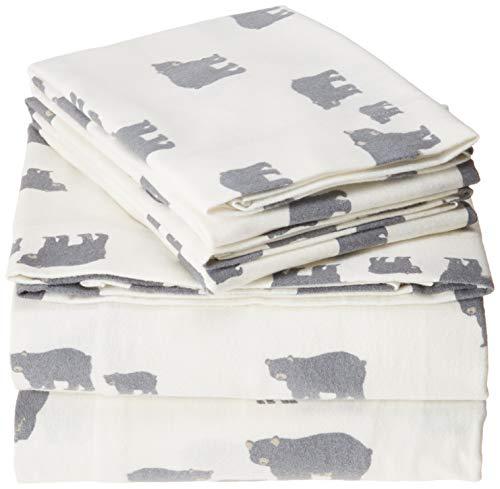 Eddie Bauer Bear Family Flannel Sheet Set, Full, Gray