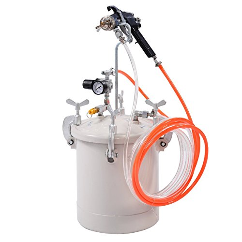 Goplus 2-1/2 Gallon Pressure Pot & Spray Gun with Hoses, Pressure Tank Paint Spray Gun