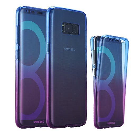 Galaxy S8 Plus Case, LONTECT Soft TPU Crystal Clear Slim 360 Degree Full Body Protective Cover Case for Samsung Galaxy S8 Plus - Blue Purple