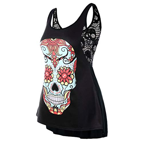 RAINED-Women Plus Size Skull Tanks Sexy Swing Tank Tops Back Lace Splice T-Shirt Back Lace Vest Casual Loose Shirts Red