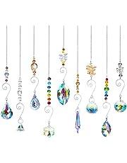 9 stuks zonnevangers, kristallen decoratieve hangers, kristallen glazen prisma-hangers, lampen, decoratieve hangers, kristallen bol, voor thuis, kantoor, tuindecoratie