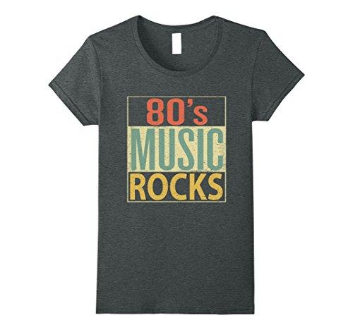 80s Rock Style (Womens 80s Music Rocks Shirt. Vintage 80s Style Retro Colors TShirt Medium Dark Heather)