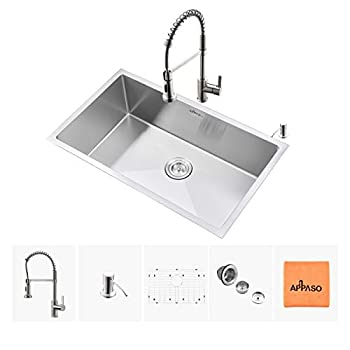 Image of Home Improvements APPASO Kitchen Sink and Faucet Combo Set, 30 Inches Stainless Steel Single Bowl Kitchen Sink Undermount and Commercial Pull Down Kitchen Faucet Kit