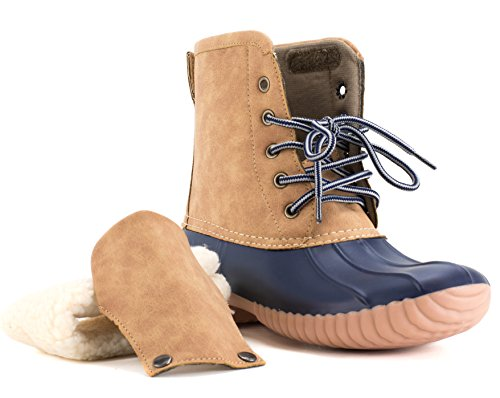 Womens Reveal Collar Avanti Tan Navy Duck Removable Monogramable Waterproof Rainboot Boot and g5qdABq