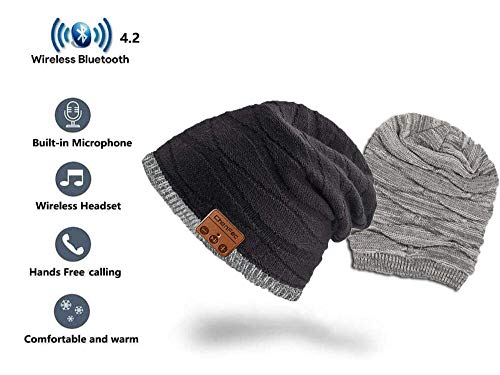 ChenFec Wear on Both Sides Bluetooth Beanie Hat,Winter Outdoor Sports Music Hat Unisex with Stereo Headset Wireless…