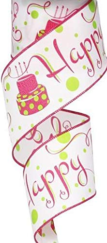 Wired Ribbon Happy Birthday White/Fuschia/Lime 2.5