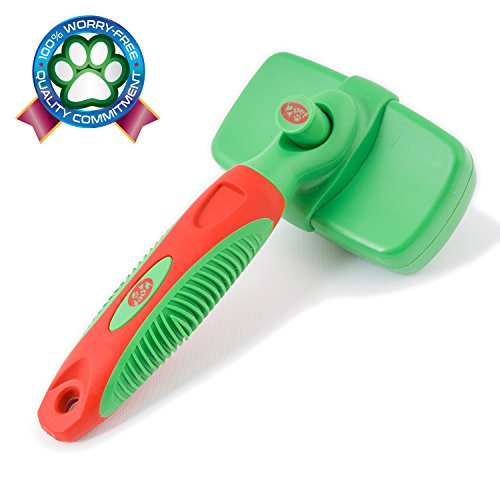 2PET KNOTS AWAY Slicker Brush - Self Cleaning Dog Brush for Medium to Long Hair - Dog Brush for All Sizes & Breeds Grooming Brush to Remove Mats & Tangles, Reduce Shedding - Small Size, Green (Dog Brushes For Curly Hair compare prices)
