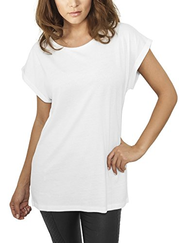Urban Classics Damen T-Shirt Ladies Extended Shoulder Tee, Weiß (White 220), 40 (Herstellergröße: L)