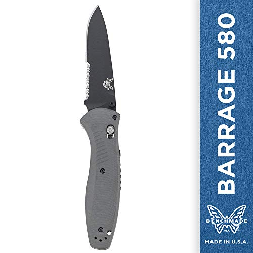Benchmade - Barrage 580-2 Knife, Drop-Point Blade, Plain Edge, Coated Finish, Gray Handle