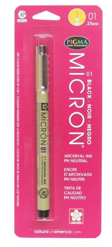 Sakura 30181 Pigma Micron Blister Card 01 Ink Pen, 0.25-mm, Black
