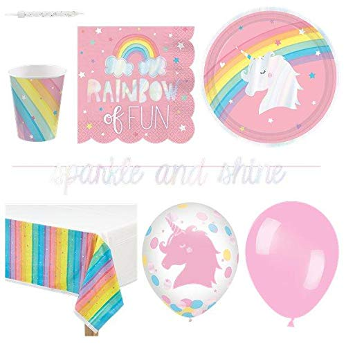 Magical Unicorns & Rainbows Partyware Kit  8 Guests