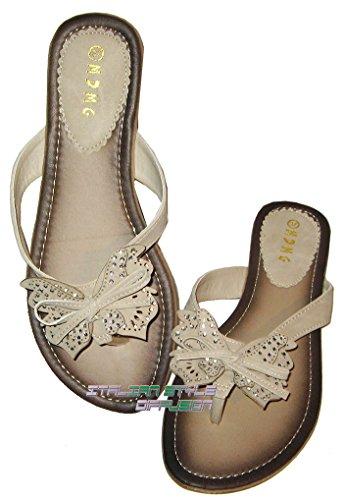 Flip Flops Chaussures Chaussures Strass Talon Butterfly Beige 36 37 40 41