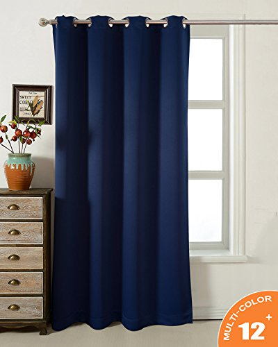 AMAZLINEN Sleep Well Navy Blackout Curtains Toxic Free Energy Smart Thermal Insulated,52 W X 84 L Inch,Grommet Top,1Panel Pack(Navy Blue) (Curtains For Sale Bedroom)