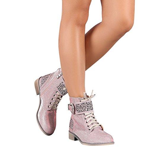 Bella Marie Donna Punta Tonda Shimmer Glitter Stud Militare Combattimento Pizzo Stivaletti Alla Caviglia Stivali Rosa Scuro