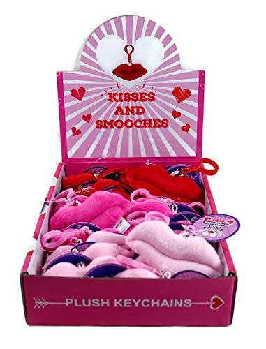 Kisses and Smooches Valentine's Day Lips Plush Keychains School Kids Party Favors, Box of 24 -