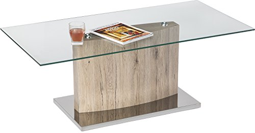 Cheap Mango Steam Monterey Coffee Table – Cypress Tan – Clear Tempered Glass Top, Wood Textured Body, Stainless Steel Base