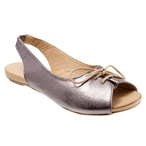 - New in Respctful✿Women's Flat Leather Summer Sandals Slip On Flats Ladies Casual Pee Toe Slingback Lace Up Sandals Silver