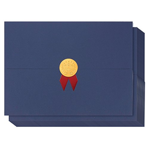 12-Pack Certificate Cover - Diploma Cover, Document Cover for Letter-Sized Award Certificates, Blue, Gold Foil, Red Bow, 12.5 x 9.2 Inches (Bow Border)