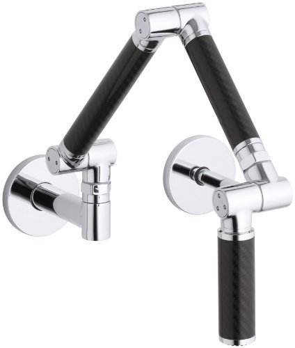 KOHLER K-6228-C12-CP Karbon Wall-Mount Kitchen Faucet with Black Tube, Polished Chrome
