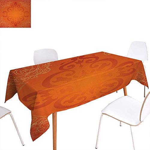 Warm Family Orange Patterned Tablecloth Royal Antique Motifs with Victorian Swirls Vintage Traditional Revival Framework Dust-Proof Oblong Tablecloth 60