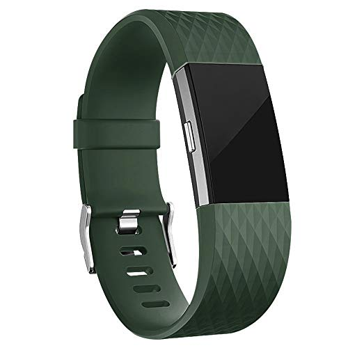 iGK Replacement Bands Compatible for Fitbit Charge 2, Adjustable Replacement Bands with Metal Clasp Special Edition Olive Green Small