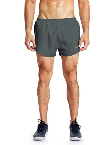Baleaf Men's Quick-Dry Lightweight Pace Running Shorts Gray Size M