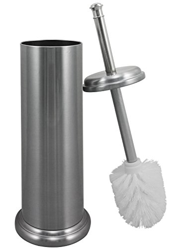 Maya Wrap Elegant Toilet Brush And Canister by MAYA | Built-In Splash Guard, Tapered Head, Rust Resistant Metal Construction, Compact Design For Small Spaces, Brushed Nickel
