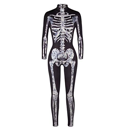 Szytypyl Women 3D Halloween Skeleton Costumes Cosplay Jumpsuit Ladies Sexy Bodysuit Outfits