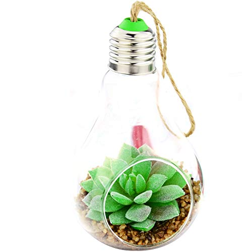 Shinejoy Hanging Artificial Succulent Plants Faux Mini Succulent Fake Cactus Plants with Terrarium Pots for Room Home Decor (Frost Lotus)
