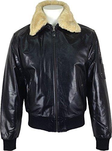 Piloto de Genuino Cuello cuero piel Airforce real chaqueta Aviador Negro UNICORN P1 Hombres real CxnwUU