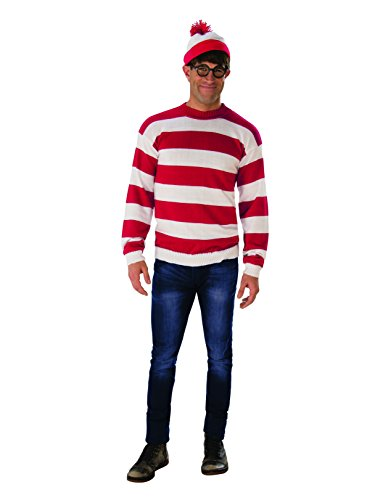 Rubie's Adult Where's Waldo Deluxe Costume, Red and White, One Size ()