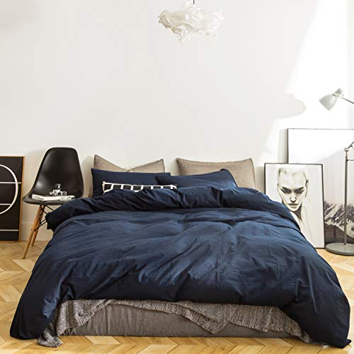 SUSYBAO 3 Pieces Duvet Cover Set 100% Natural Washed Cotton Navy Blue Queen Size 1 Duvet Cover 2 Pillowcases Luxury Quality Ultra Soft Breathable Durable Fade Resistant Bedding Set with Zipper Ties (Queen Dark Blue Duvet Cover)